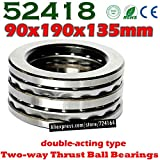 Ochoos 90x190x135 mm Two-Way Thrust Ball Bearings 52418 Axial 52418M 38418 Plane 90190135 Steel or Brass cage Wholesale - (Length: 1pcs 52418)