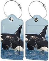 ラゲッジタグファッション新しいパープルタイダイサイケデリックトリッピーアートラゲッジタグステンレススチールループとアドレスカード付きのクールなクルーズタグ耐久性のある旅行タグ-OrcaIller Whale-2 PCS