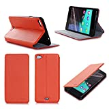 Etui luxe Wiko Highway Pure 4G orange Ultra Slim Cuir Style avec stand - Housse Folio Flip Cover coque de protection Wiko Highway Pure Dual Sim orange clémentine Android 3G/4G/LTE/Wifi - Accessoires pochette XEPTIO : Exceptional case !