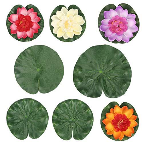 MENGON Künstlicher Lotus Schwimmende Seerosen Kunstpflanzen Blumen Lotusblätter Lotusblüte 5 Farben Teich Brunnen Garten Pool Fischteich Aquarium Dekoration