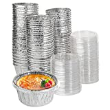 Stock Your Home Foil Ramekins with Clear Plastic Lids (100 Pack) - Recyclable and Disposable Mini Ramekins - Foil Cupcake Liners for Sauces, Crème Brûlée, Molten Lava Cake, Catering, Food Sampling