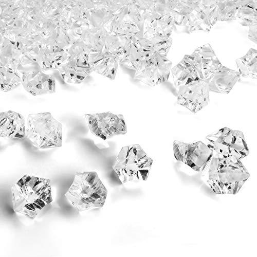 Acryl Diamanten Eiswürfel Steine Klar (500Stk) - Edelsteine Dekosteine Transparent Wiederverwendbar – Streudeko Eis Kristalle Plastik Glitzersteine für Vasen, Tischdeko, Party, Hochzeit, Deko, Basteln