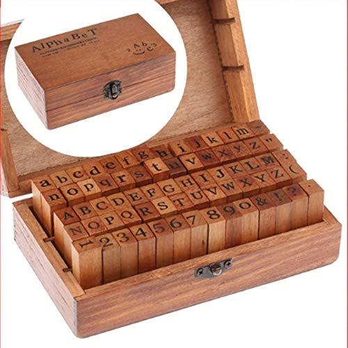 SUPVOX Sellos del alfabeto de 70 piezas Sellos de letras Sellos de caucho con símbolos de números antiguos con caja de madera (Color de goma al azar)