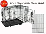 Homey Pet-Economic 48' Wire Folding Dog Pet Cage with Pull Out Tray and Floor Grid (W/Grid, 48')