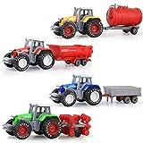 Paquete de 4 tractores agrícolas, camiones y remolques, juego de mini tractores agrícolas de aleación de metal fundido a presión, paquete de vehículos de juguete, regalos para bebés, niños pequeños