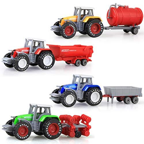Simulierte Technische Fahrzeuge Gleiten Farm Traktor Legierung Auto Modell Spielzeug , Baufahrzeuge Bagger LKW Spielzeug, 4 In 1 DIY Gebäude Pädagogisches Geschenk Spielzeug Für Jungen Mädchen