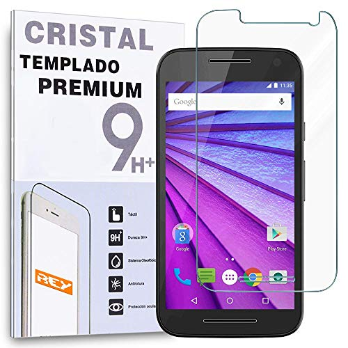 REY Protector de Pantalla para Motorola Moto G 3 G3 2015 Cristal Vidrio Templado Premium