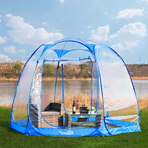 Bubble Tent 10x10, Outdoor Canopy Tent Clear Garden Igloo Tent Gazebos Transparent Bubble Tent Dome Tent Screen House 4-6 Person for Patios, Blue
