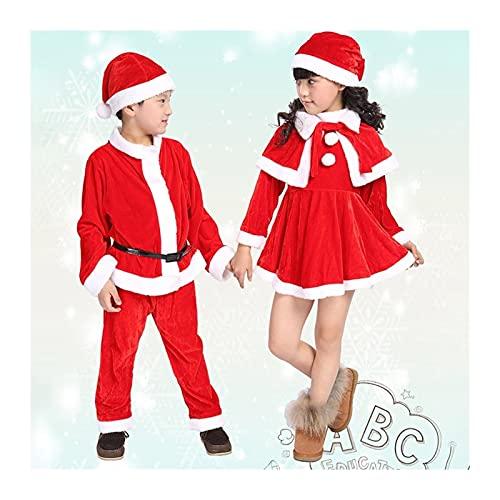 Niños Santa Claus Cosplay Traje de Navidad Traje de Navidad for Hombre Boy Christmas Fiesta Año Nuevo Vestido de Disfraces (Color : Girl, Tamaño : 80cm)