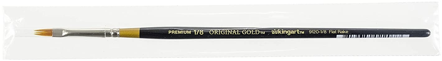 KINGART Original Gold 9120-1/8, Premium Artist Brush, Golden TAKLON Flat RAKE-Size: 1/8, Black