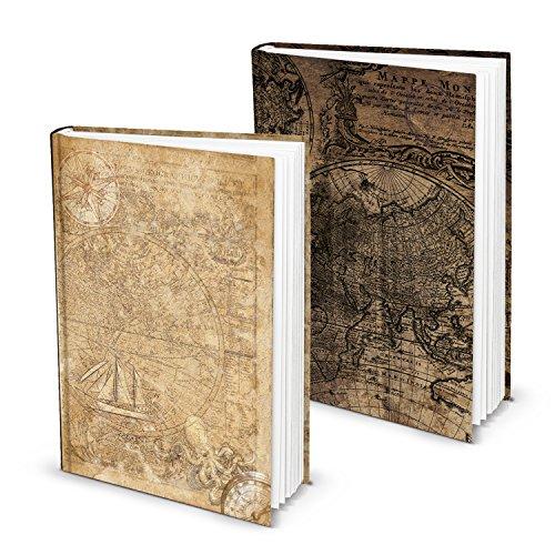 SET 2 Stück Notizbuch Tagebuch vintage klein DIN A5 ALTE WELT HELL-braun Reisetagebuch maritim 136 leere weiße Seite Blankobuch Welt-Karte Globus Erde alt antik wirkend Landkarte Geschenk