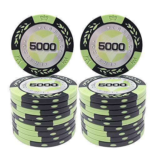 COSDDI 20 Piezas Fichas de Póker Casino Club Fichas de Póker a Granel - Elija Denominación ($5,000)