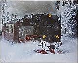 JANDEI - Cuadro Paisaje LED Con Interruptor (Tren, 50 * 40 * 1,8) Locomotora Tren En La Nieve Con Iluminación LED Con Interruptor, 3 Puntos De Luz. 2 Pilas AA