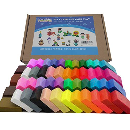Maudre 50 Colors Polymer Clay, DIY Oven Baking Clay Blocks Birthday Gift for Kids Adults (50 Colors with Box)