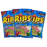 Rips (1) Bag Licorice Bite Size Candy - Strawberry & Green Apple - Fruit Juice Flavored Fat Free 3.5 oz