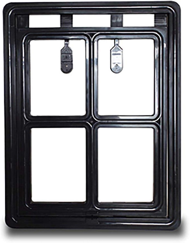New Lockable Plastic Pet Screen Door Dog Gate Way Pet Door for Home Black,S