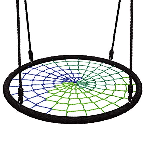 Play Platoon Spider Web Tree Swing - 40 Inch Diameter, Fully Assembled, 600 lb Weight Capacity, Easy to Install, Cool Multi Color