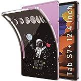 Yoedge Funda para Samsung Galaxy Tab S7 Plus 12,4',Carcasa Silicona TPU Transparente con Dibujos Diseño Smart Case Cover Antigolpes Piel de Protector Tableta para Samsung SM-T970 / T975,Astronauta 1