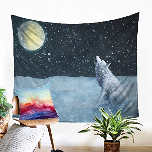N / A Tapestry home decoration Wolf Tapestry Wall Hanging Sandy Beach Picnic Rug Camping Tent Sleeping Pad Home Decor Bedspread Sheet Wall Cloth