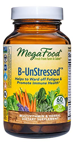 MegaFood, B-UnStressed, Helps Ward Off Fatigue, Multivitamin and Herbal Supplement, Vegan, 60 Tablets