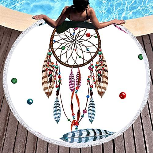 Toalla de Playa de Microfibra,Toalla de Piscina Grande Esterilla de Yoga, Pluma de atrapasueños con Estampado Redondo