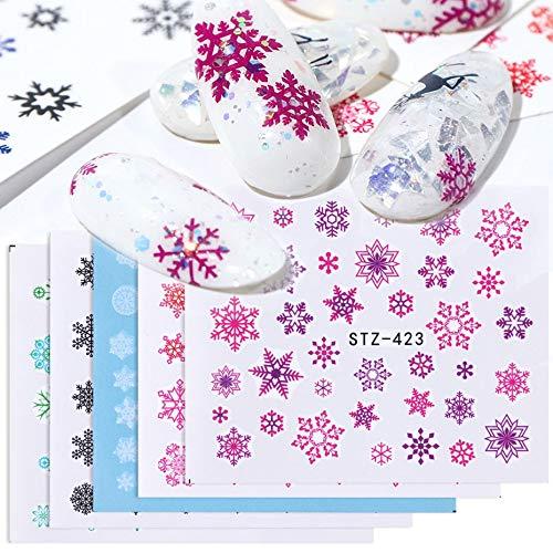 BLOUR 1pc Schneeflocke Schieber für Nagel Aufkleber Wraps Rot Weiß Aufkleber Weihnachten Designs Winter Nail Art Dekoration Maniküre Tool LASTZ421