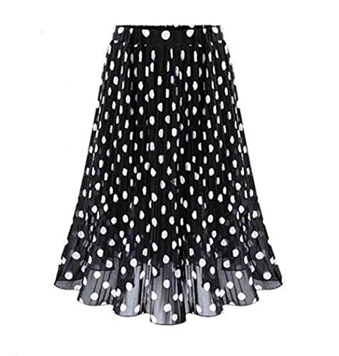 Falda para Mujer,Retro Gasa Ligera Cintura Elástica Estampado De Lunares Plisado De Longitud Media Bohemia Verano De Cintura Alta Versátil Vestido Elegante Elástico para Mujeres Fiesta De Niñas