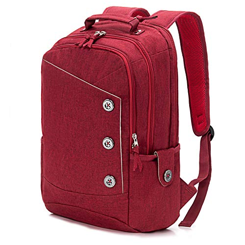 KingsLong Mochila Portatil 15.6 Pulgada Mochilas Mujer, Mochila Antirrobo Impermeable, Mochila Ordenador Portatil Backpack para el Laptop, Rojo Mochilas