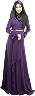 Womens Muslim Kaftan Abaya Loose Solid Color Robe Islamic Arab Maxi Dress