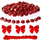 Naler 120 Pieces Red Jingle Bells Christmas Craft Bells with Red Cord and Red Bowknots for Christmas Party Festival Decorations, 1 Inch