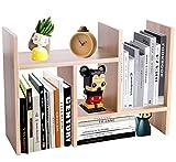 PENGKE Office Storage Rack,Desktop Organizer,Home Decor Adjustable Wood Display Shelf Rack,True Natural Stand Shelf,Office Supplies Desk Organizer,Light Brown