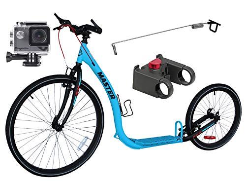 Dogscooter Tretroller Master 26/20 Zoll GTI V-Brake Blau/Schwarz + ActionCam III 4K Ultra HD Outdoor Camcorder + Antenne für Leinenführung und Adapter