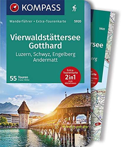 KOMPASS Wanderführer Vierwaldstättersee, Gotthard: Wanderführer mit Extra-Tourenkarte 1:65000, 55 Touren, GPX-Daten zum Download.