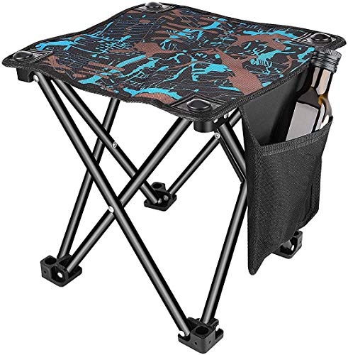 FLJUN Small Folding Camping Stool, Portable Stool for Outdoor Camping Walking Hunting Hiking Fishing Travel,600D Oxford Cloth Slacker Stool with Carry Bag