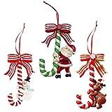NUOBESTY Bastón de Caramelo de Navidad Adorno Colgante Bastón de Caramelo de Plástico para Decoración Colgante de Árbol de Navidad,3 Piezas