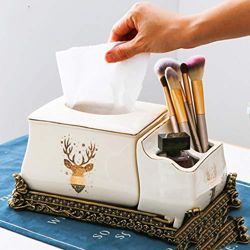 DAMAI STORE Multi-Funktions-Fernbedienung Keramik Tissue Box Pump Tray Storage Box European Creative Wohnzimmer Couchtisch Ornamente (Color : Natural)