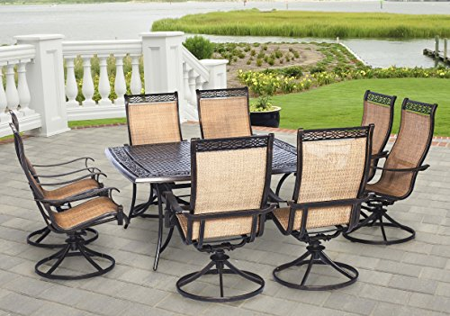 Hanover MANDN9PCSWSQ-8 Manor 9 Piece Dining Set with Eight Swivel Rockers, Brown Outdoor Furniture