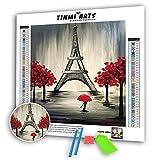 TINMI ARTS 5D Diamond Painting Kits Full Round with AB Drills DIY Cross Stitch Pattern Rhinestone Embroidery Kits Arts Craft Wall Sticker[16'x 20' Tree and Eiffel Tower]
