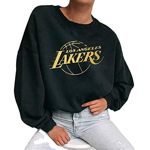 M3M Los Angeles Lakers Pullover Sweatshirt, Damen NBA Basketball Trikot Langarm T-Shirt Pullover Sport Casual Tops, Schwarz, S-XXXL,Schwarz,L