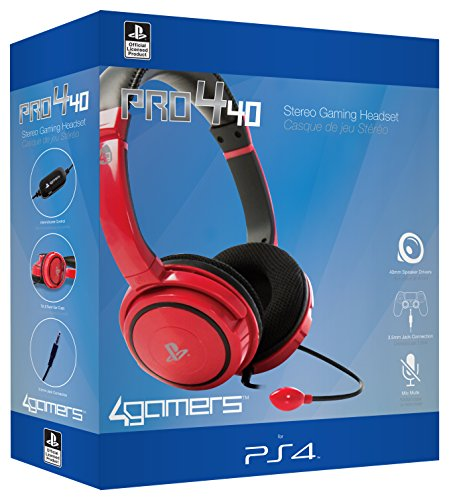 4Gamers PS4 Stereo Gaming Headset 40 - red