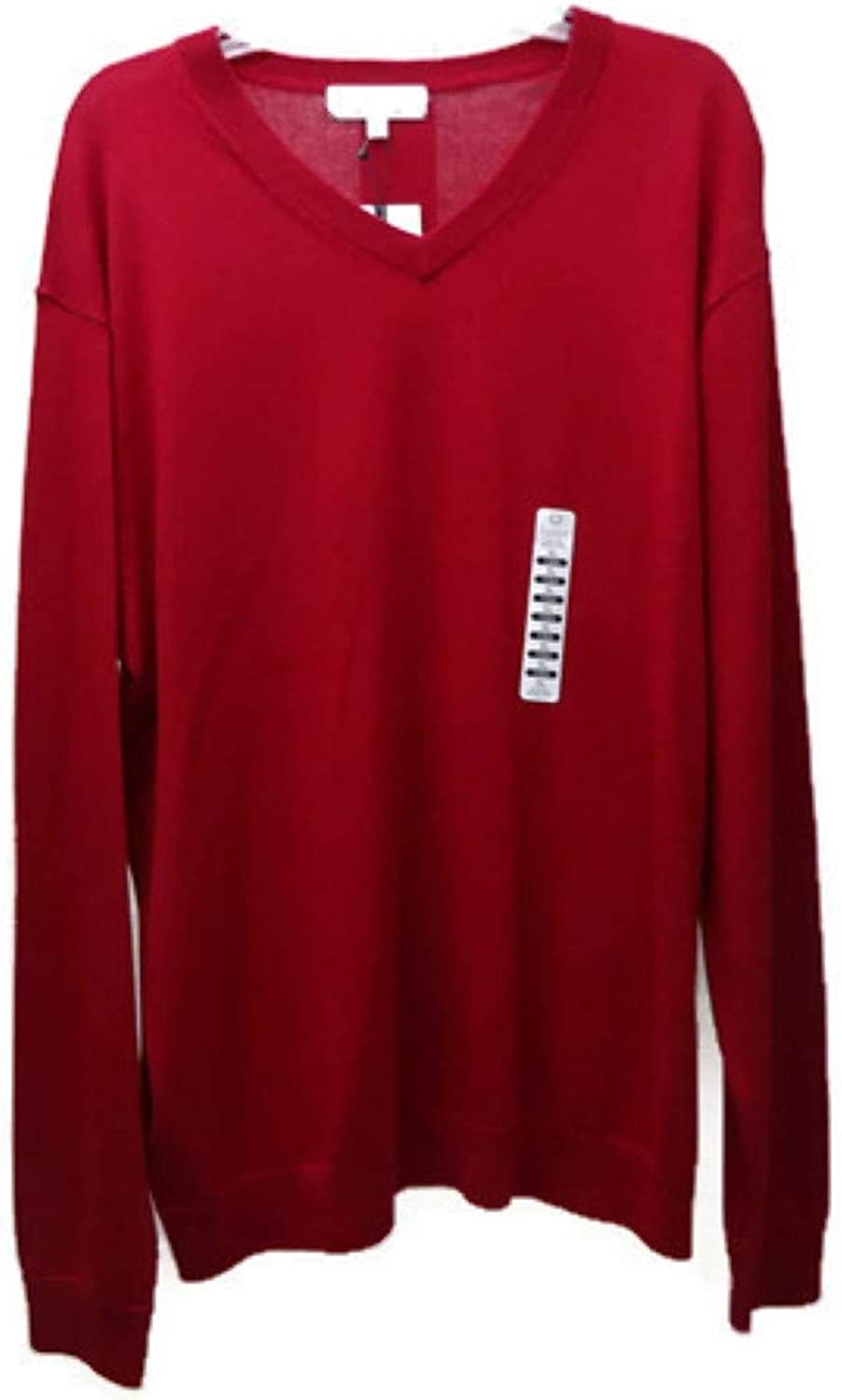 Turnbury Mens V-Neck Merino Blend Cable Pullover Sweater, Red X-Large