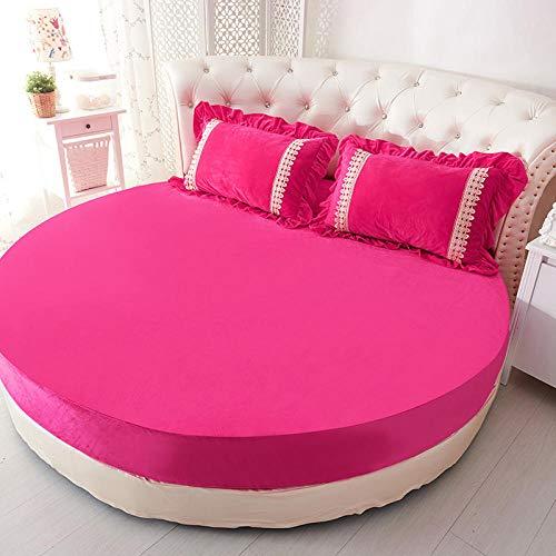 HPPSLT Protector de colchón/Cubre colchón Acolchado de Fibra antiácaros, Transpirable, Sábana de Cama Redonda Engrosada algodón-Rosa roja-Single Layer_2.2m