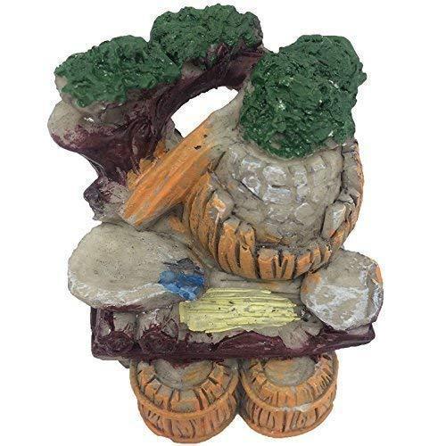 Musykrafties Décoration de fontaine à eau rustique en résine Vert foncé pour terrarium Fée Jardin Poupée