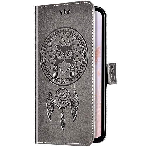Uposao Kompatibel mit Huawei Y6 Pro 2017 Handyhülle Wallet Lederhülle Traumfänger Mandala Eule Muster Leder Tasche Schutzhülle Brieftasche Handytasche Klapphülle Flip Hülle,Grau