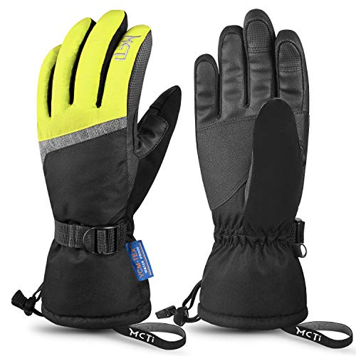 MCTi Ski Gloves,Winter Waterproof Snowboard Snow 3M Thinsulate Warm Touchscreen Cold Weather Women Gloves Wrist Leashes Yellow Large