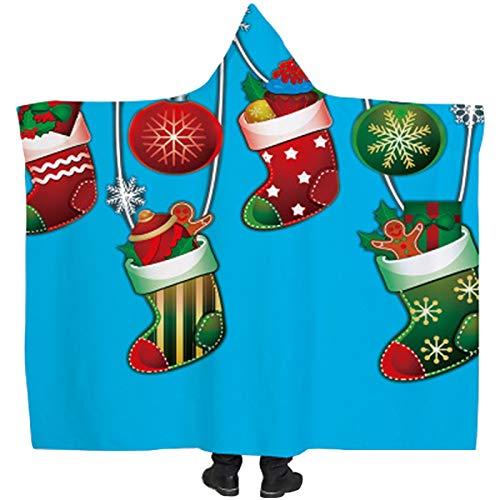 YTdoo Regalo del Día De Navidad Manta con Capucha Franela Felpa Cálido Sofá/Cama/Avión Viaje Ropa De Cama Edredón Manta