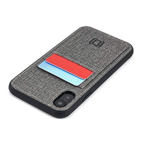 Dockem Luxe M2T Funda Cartera para iPhone XR: TPU Slim de la Serie M con Piel Sintética Diseño Tela y 2 Ranuras para Tarjetas con Placa de Metal Integrada para Soporte Magnético