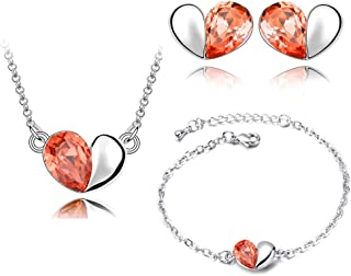 Heart Love Necklace Stud Earrings Jewelry Set Ladies Charm Jewelry Charming Neck Decoration Wedding Jewelry,Colour:Red (Co...