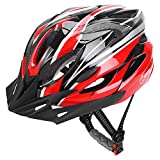 JBM Adult Cycling Bike Helmet Specialized for Men Women Safety Protection CE Certified Adjustable Lightweight Bicycle Helmet with Reflective Stripe and Removal (Red Black, Large)
