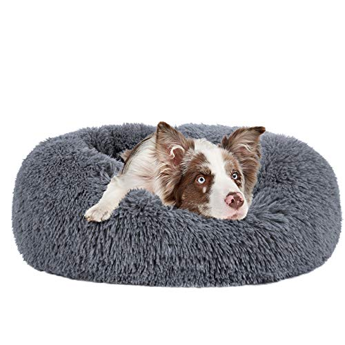 MIXJOY Calming Dog Bed for Small Medium Large Dogs, Faux Fur Donut Cat Puppy Bed, Self Warming Indoor Sleeping Pet Bed, Washable Anti-Anxiety Dog Cushion Multiple Color (35', Grey-Blue)